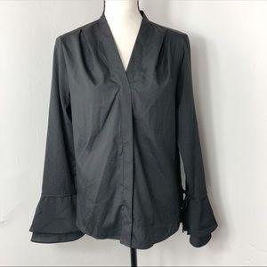 NWT $69 Calvin Klein Black Bell Sleeve Blouse S